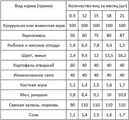 Таблица норм с расчетом на одну взрослую несушку