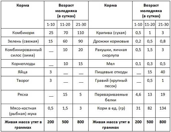 Таблица норм питания утят в разном возрасте
