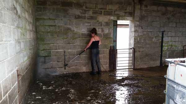 Очищает помещение струей воды
